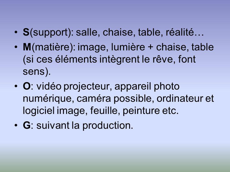 S(support): salle, chaise, table, réalité… M(matière): image, lumière + chaise, table (si ces éléments intègrent le rêve, font sens). O: vidéo project