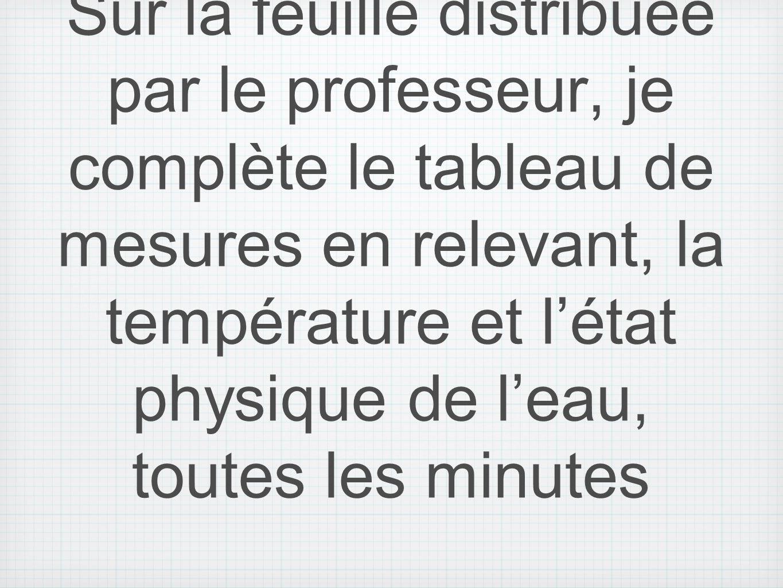 Sur la feuille distribuée par le professeur, je complète le tableau de mesures en relevant, la température et létat physique de leau, toutes les minut