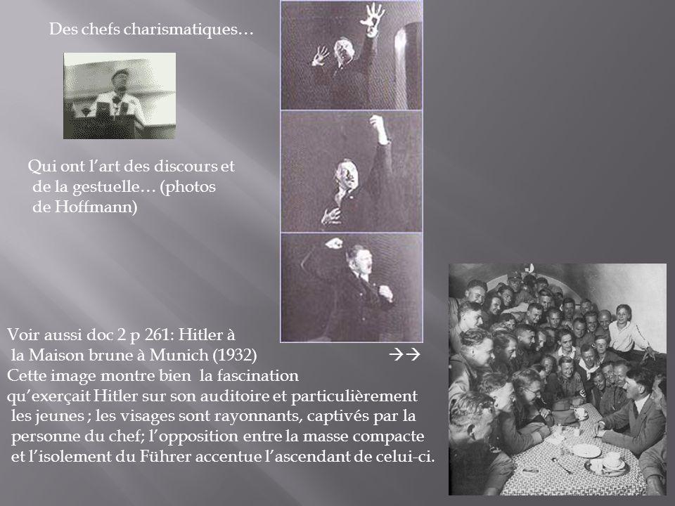 Des chefs charismatiques… Qui ont lart des discours et de la gestuelle… (photos de Hoffmann) Voir aussi doc 2 p 261: Hitler à la Maison brune à Munich