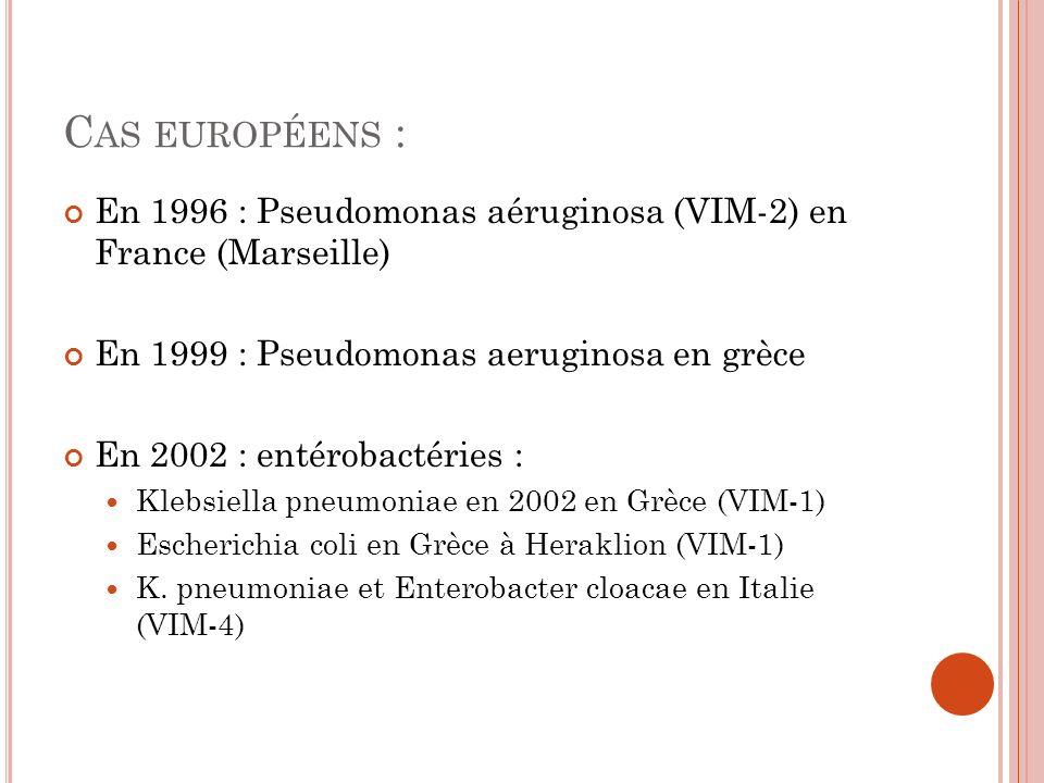 C AS EUROPÉENS : En 1996 : Pseudomonas aéruginosa (VIM-2) en France (Marseille) En 1999 : Pseudomonas aeruginosa en grèce En 2002 : entérobactéries :