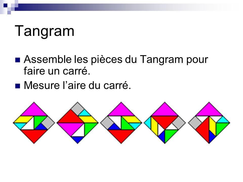 Tangram Assemble les pièces du Tangram pour faire un carré. Mesure laire du carré.