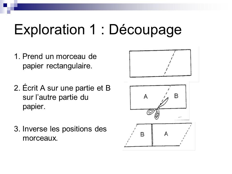 Exploration 1 : Découpage 1. Prend un morceau de papier rectangulaire. 2. Écrit A sur une partie et B sur lautre partie du papier. 3. Inverse les posi