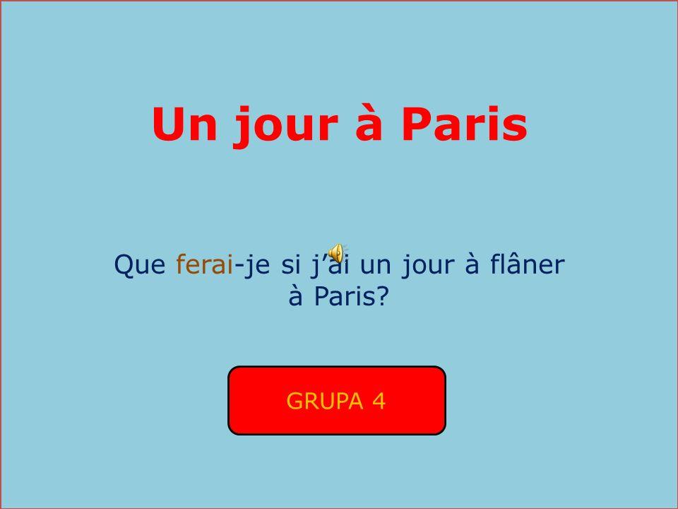 Un jour à Paris Que ferai-je si jai un jour à flâner à Paris? GRUPA 4
