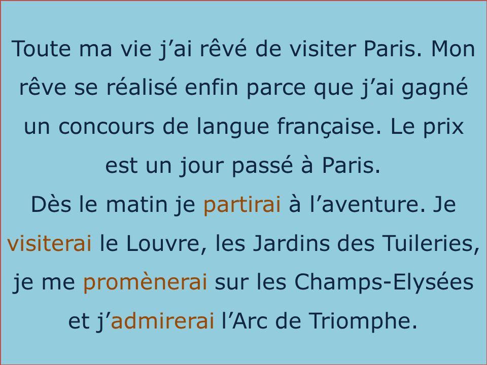 Toute ma vie jai rêvé de visiter Paris. Mon rêve se réalisé enfin parce que jai gagné un concours de langue française. Le prix est un jour passé à Par