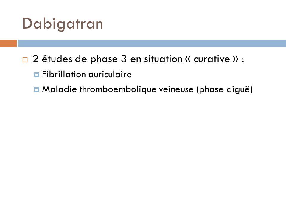 Dabigatran 2 études de phase 3 en situation « curative » : Fibrillation auriculaire Maladie thromboembolique veineuse (phase aiguë)