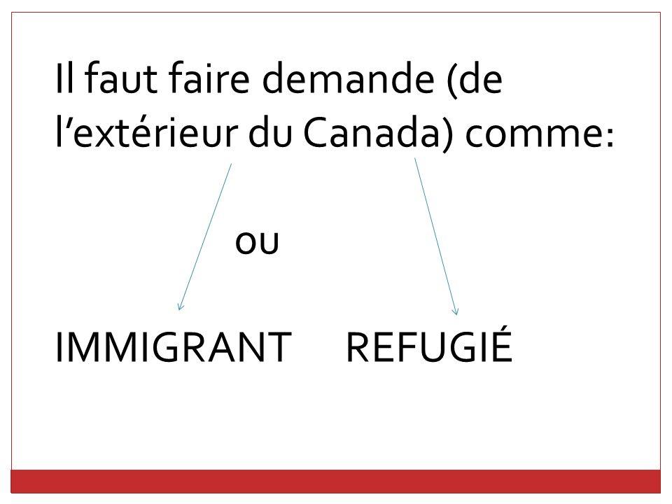 Il faut faire demande (de lextérieur du Canada) comme: ou IMMIGRANT REFUGIÉ