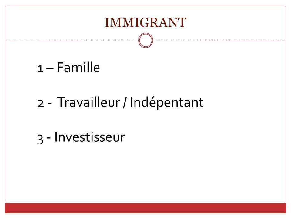 IMMIGRANT 1 – Famille 2 - Travailleur / Indépentant 3 - Investisseur