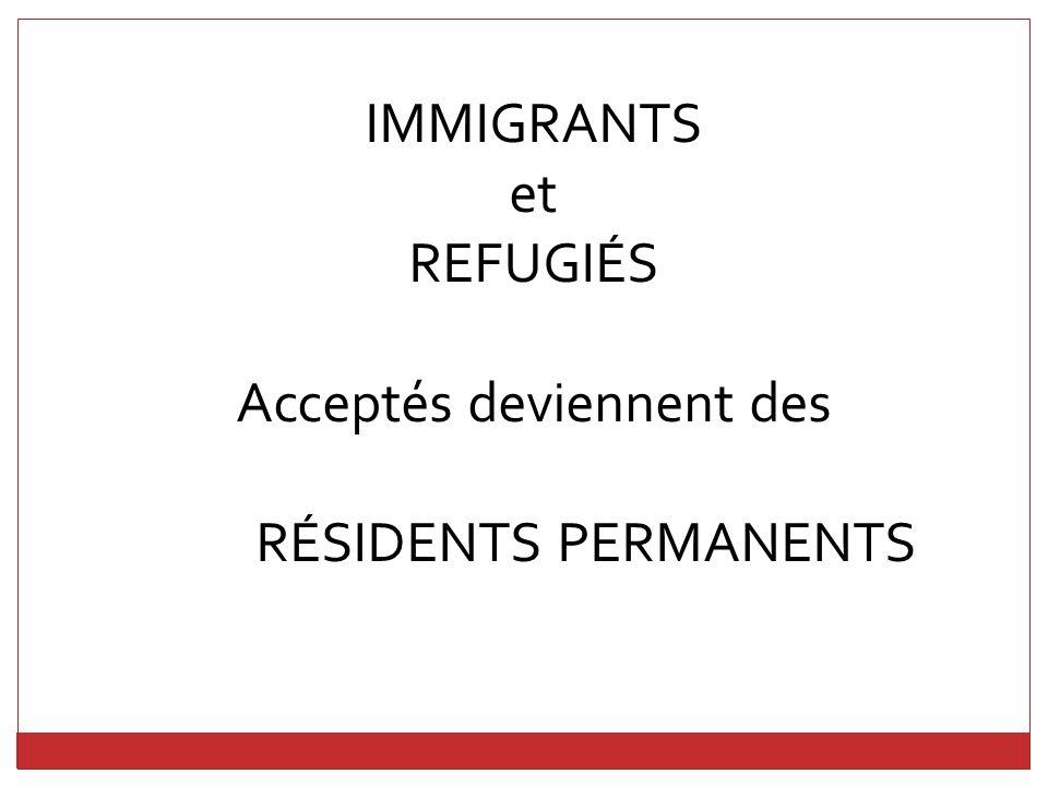RÉSIDENTS PERMANENTS (LANDED IMMIGRANTS) Peuvent devenir des citoyens Canadiens si: 18 ans ou plus Ont vécu au Canada pendant 3 ans Peuvent parler anglais ou français Peuvent réussir un test de connaissances du Canada