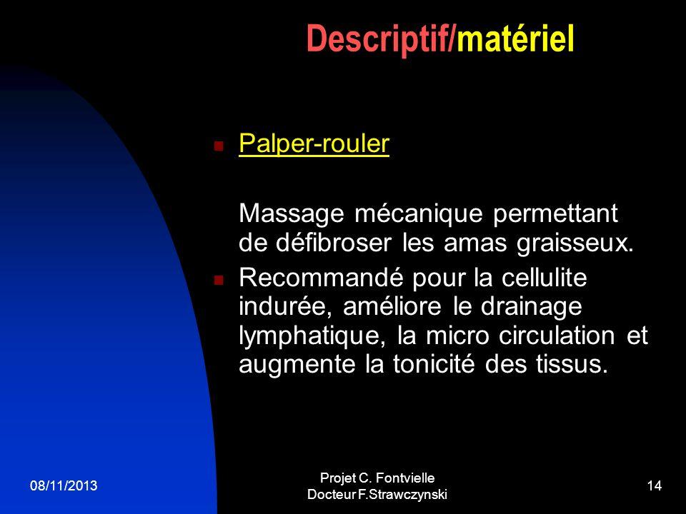 08/11/2013 Projet C. Fontvielle Docteur F.Strawczynski 13 Alphalipologie par matériel ALICE Action Lipolytique (destruction des graissses) par la syne