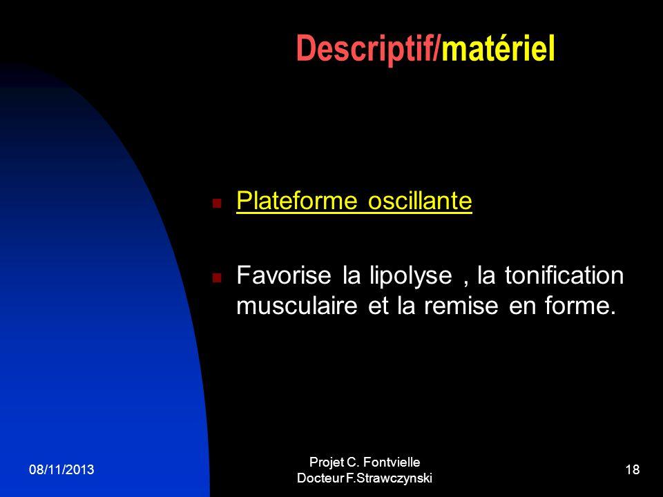 08/11/2013 Projet C. Fontvielle Docteur F.Strawczynski 17 Electroporation Lobjectif est dintroduire par des micro courants pulsés des substances à act