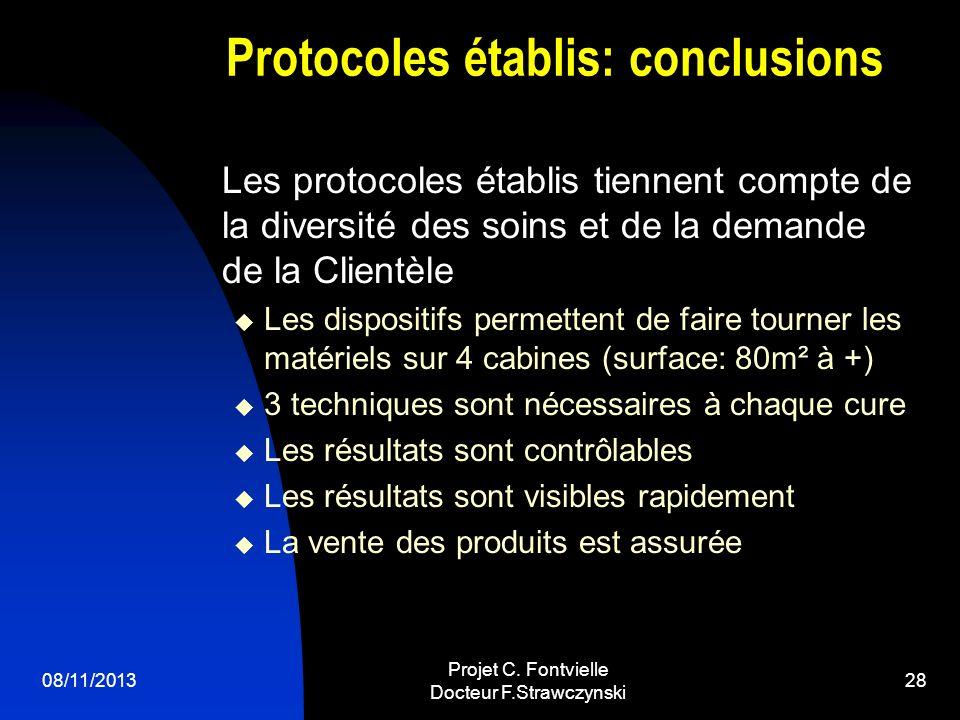 08/11/2013 Projet C. Fontvielle Docteur F.Strawczynski 27 Diagnostics et proposition Cure soins Visage de 4 à 8 séances modulables Cure soins Corps de