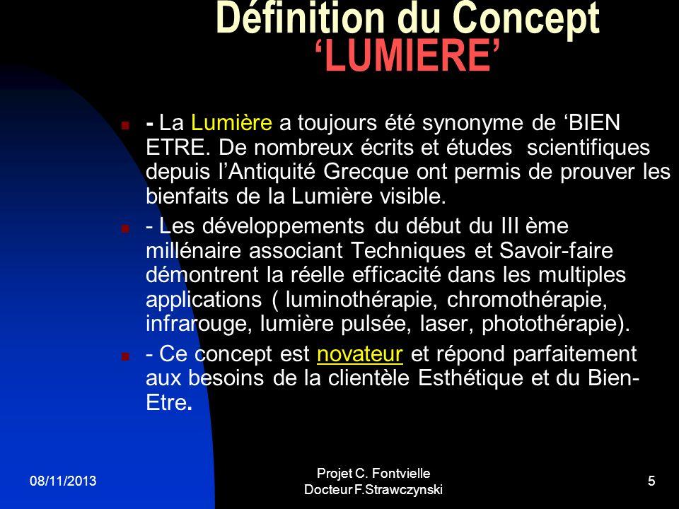 08/11/2013 Projet C. Fontvielle Docteur F.Strawczynski 4 CONCEPT DE SOINS PAR LA LUMIERE 5 thèmes sont abordés regroupant les soins visage et les soin