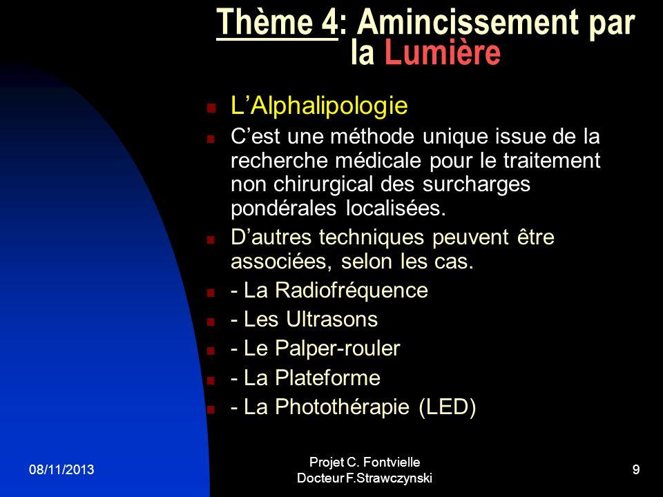08/11/2013 Projet C. Fontvielle Docteur F.Strawczynski 8 Thème 3: Epilation durable par la Lumière La Lumière Pulsée Photothermolyse - Phototype 1 à 5