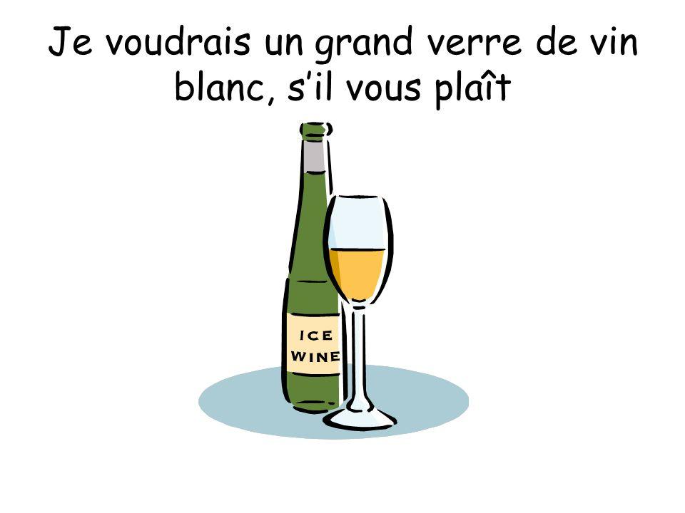 Je voudrais un grand verre de vin blanc, sil vous plaît