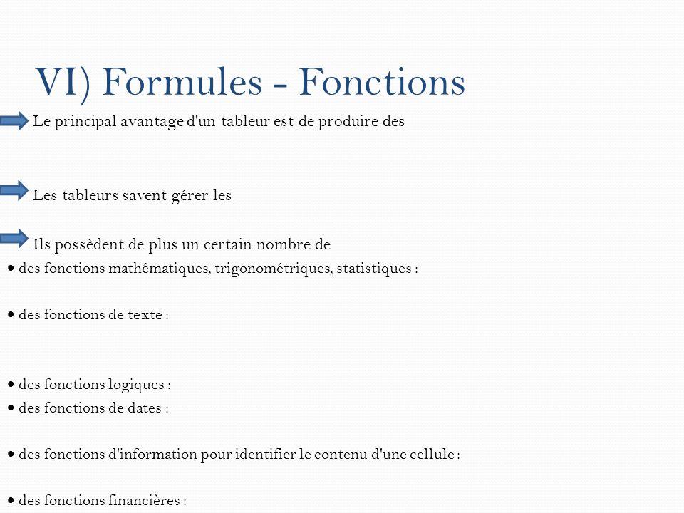 VI) Formules - Fonctions Le principal avantage d'un tableur est de produire des Les tableurs savent gérer les Ils possèdent de plus un certain nombre