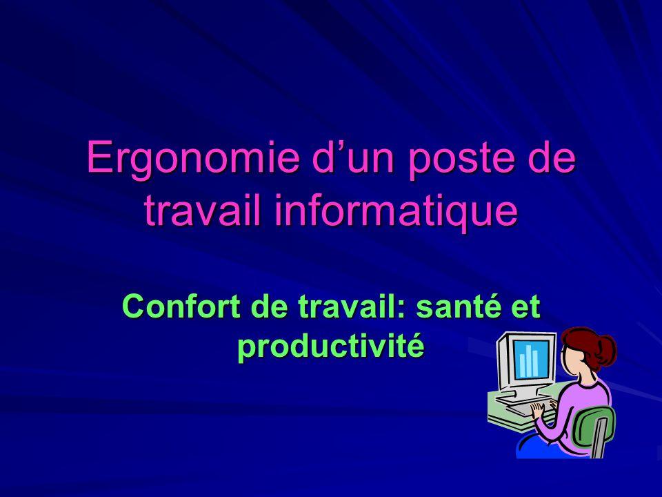 Ergonomie dun poste de travail informatique Confort de travail: santé et productivité