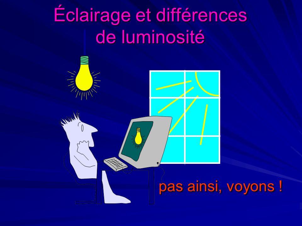 Éclairage et différences de luminosité pas ainsi, voyons ! pas ainsi, voyons !