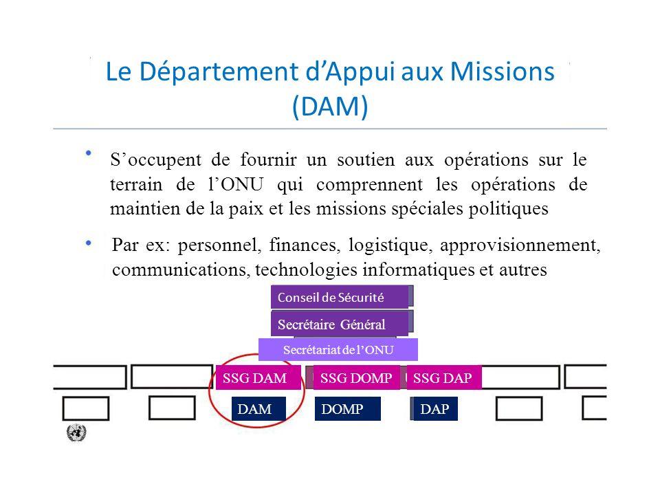 Conseil de Sécurité Secrétaire Général Secrétariat de lONU SSG DAMSSG DOMPSSG DAP DAMDOMPDAP Le Département dAppui aux Missions (DAM) Soccupent de fou