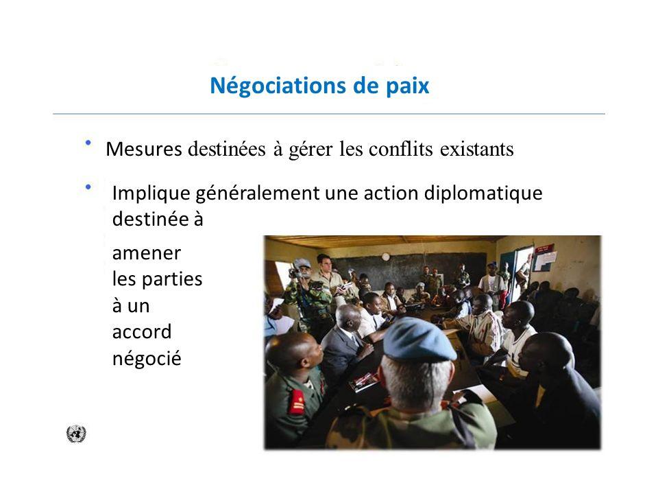 Négociations de paix Mesures destinées à gérer les conflits existants Implique généralement une action diplomatique destinée à amener les parties à un