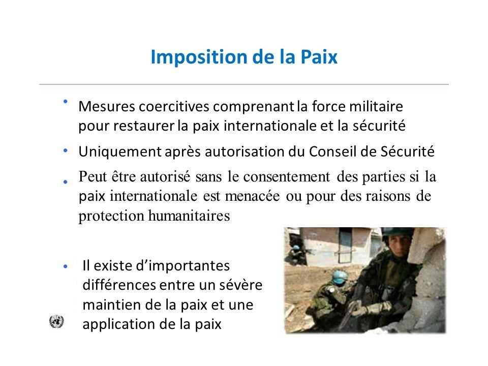 Imposition de la Paix Mesures coercitives comprenant la force militaire pour restaurer la paix internationale et la sécurité Uniquement après autorisa