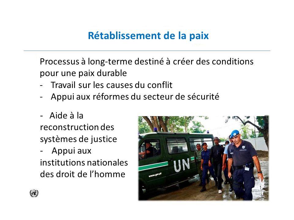 Rétablissement de la paix Processus à long-terme destiné à créer des conditions pour une paix durable -Travail sur les causes du conflit -Appui aux ré