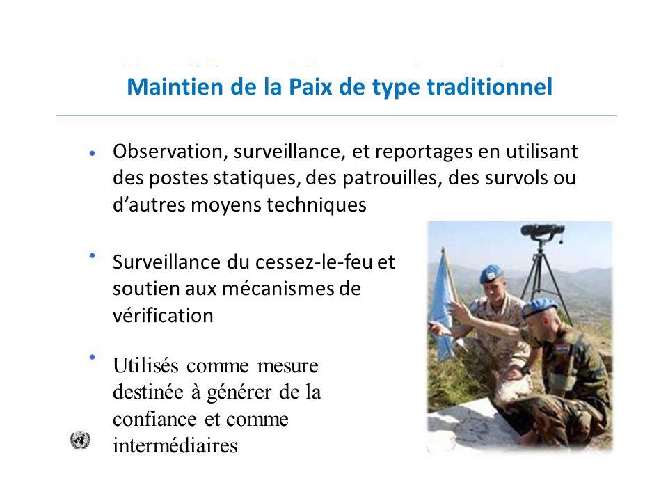 Maintien de la Paix de type traditionnel Observation, surveillance, et reportages en utilisant des postes statiques, des patrouilles, des survols ou d