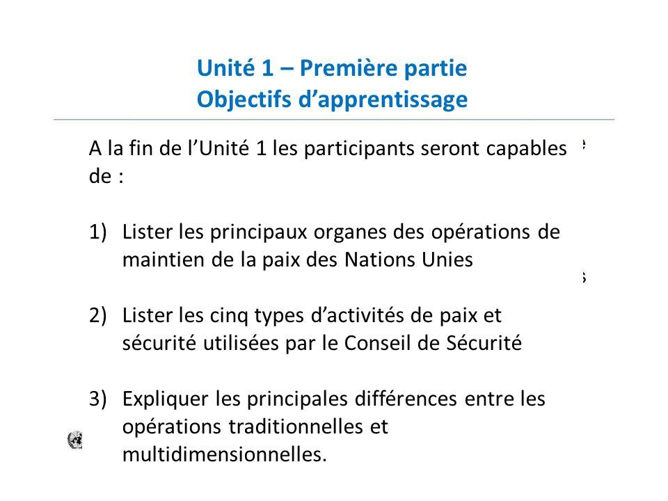 Unité 1 – Première partie Objectifs dapprentissage A la fin de lUnité 1 les participants seront capables de : 1)Lister les principaux organes des opér