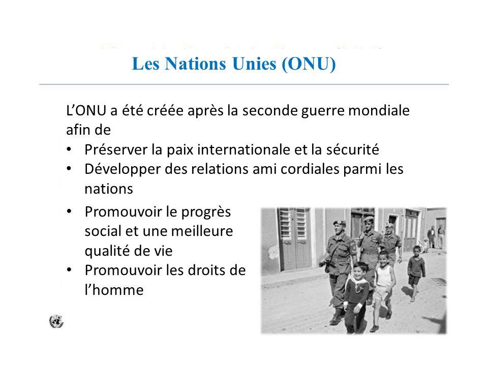 Les Nations Unies (ONU) LONU a été créée après la seconde guerre mondiale afin de Préserver la paix internationale et la sécurité Développer des relat