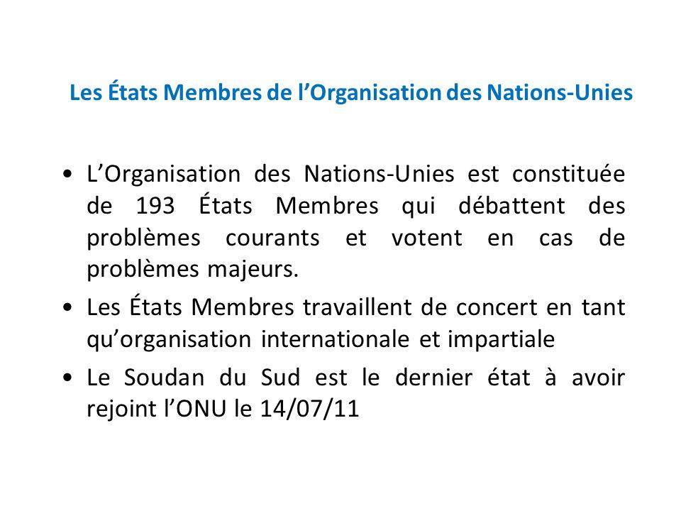 UN Member States LOrganisation des Nations-Unies est constituée de 193 États Membres qui débattent des problèmes courants et votent en cas de problème