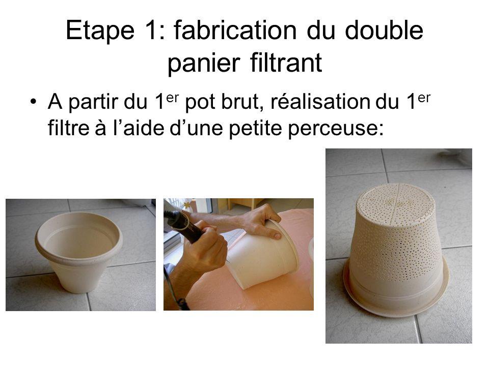 Etape 1: fabrication du double panier filtrant A partir du 1 er pot brut, réalisation du 1 er filtre à laide dune petite perceuse: