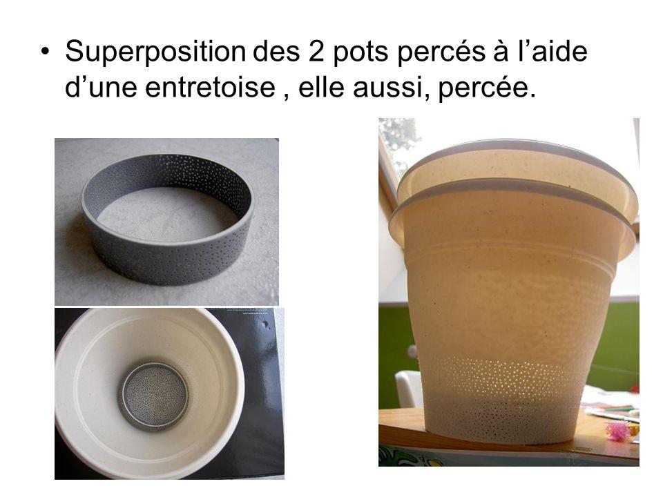 Superposition des 2 pots percés à laide dune entretoise, elle aussi, percée.