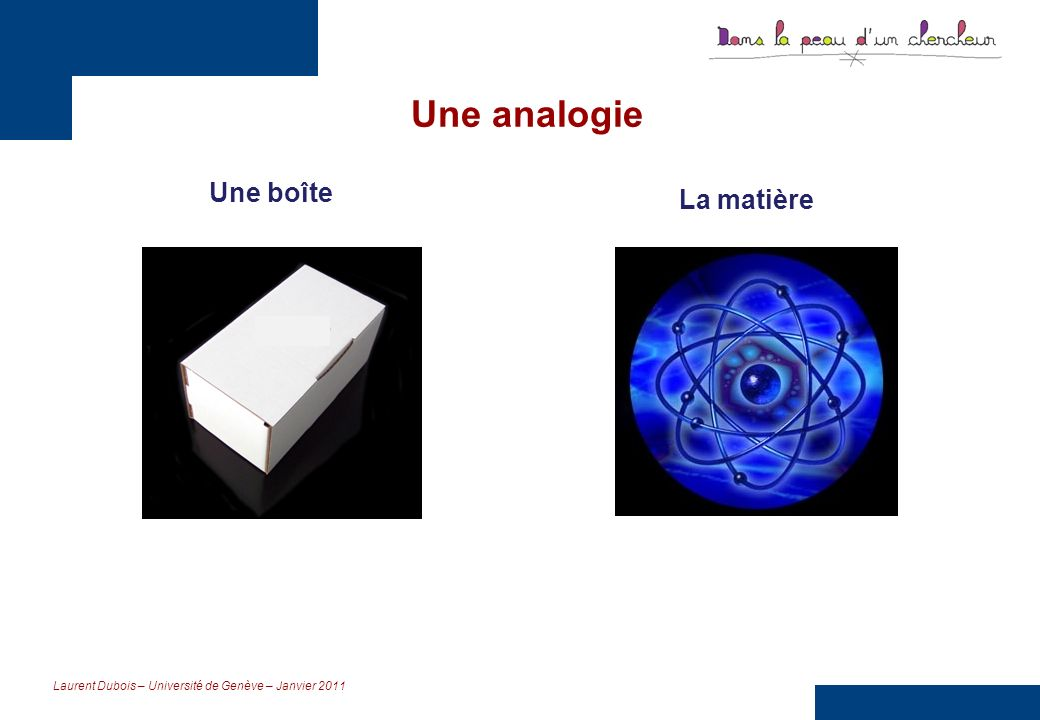 Laurent Dubois – Université de Genève – Janvier 2011 Des objectifs Comprendre ce que sont les sciences en développant une attitude scientifique et en sappropriant différentes démarches scientifiques.