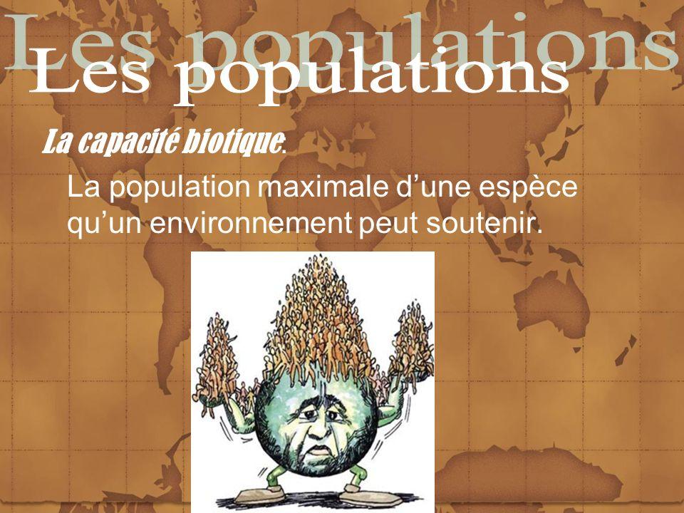 La capacité biotique : La population maximale dune espèce quun environnement peut soutenir.