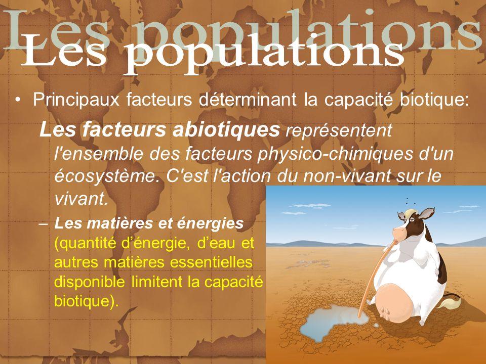 Principaux facteurs déterminant la capacité biotique: Les facteurs abiotiques représentent l'ensemble des facteurs physico-chimiques d'un écosystème.