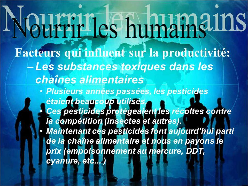 Facteurs qui influent sur la productivité: –Les substances toxiques dans les chaînes alimentaires Plusieurs années passées, les pesticides étaient bea