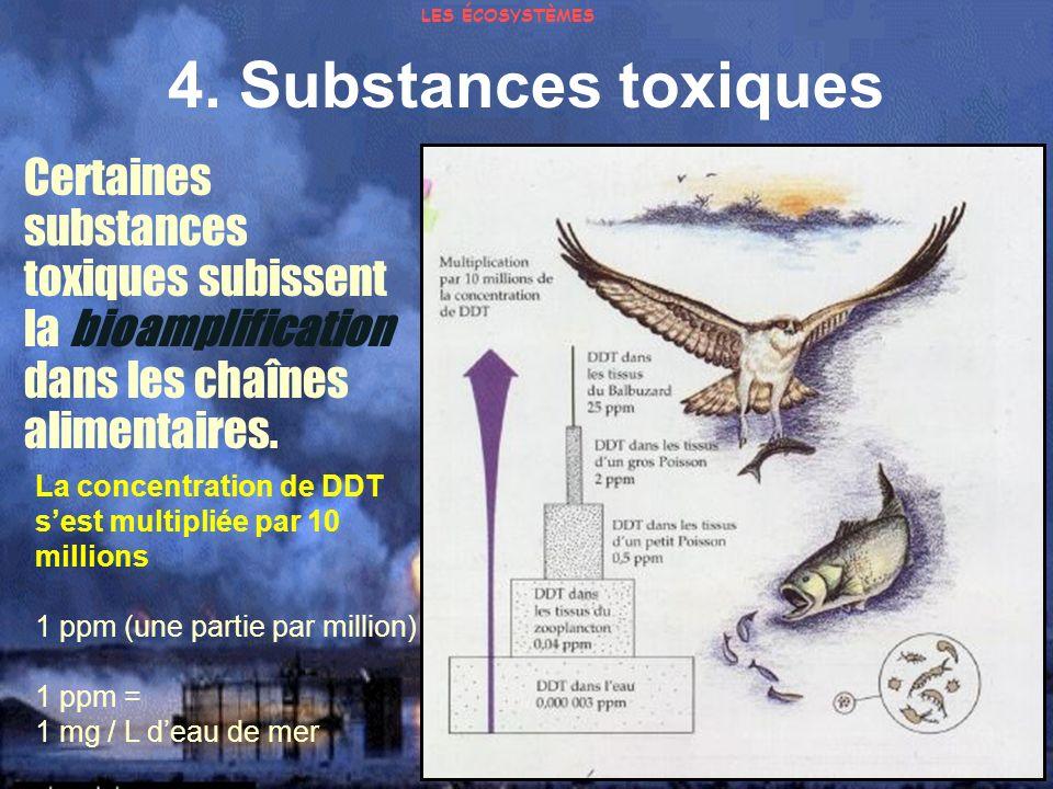 4. Substances toxiques Certaines substances toxiques subissent la bioamplification dans les chaînes alimentaires. La concentration de DDT sest multipl