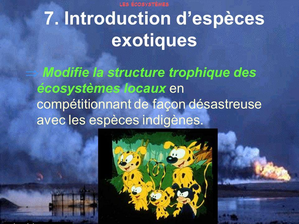 7. Introduction despèces exotiques Modifie la structure trophique des écosystèmes locaux en compétitionnant de façon désastreuse avec les espèces indi