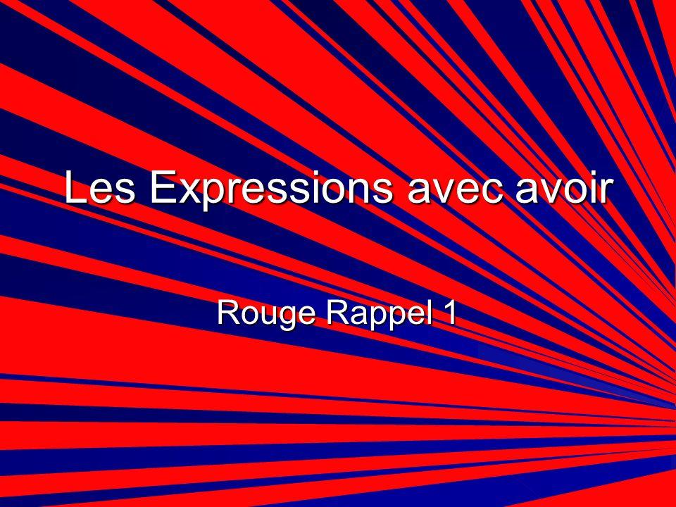 Les Expressions avec avoir Rouge Rappel 1