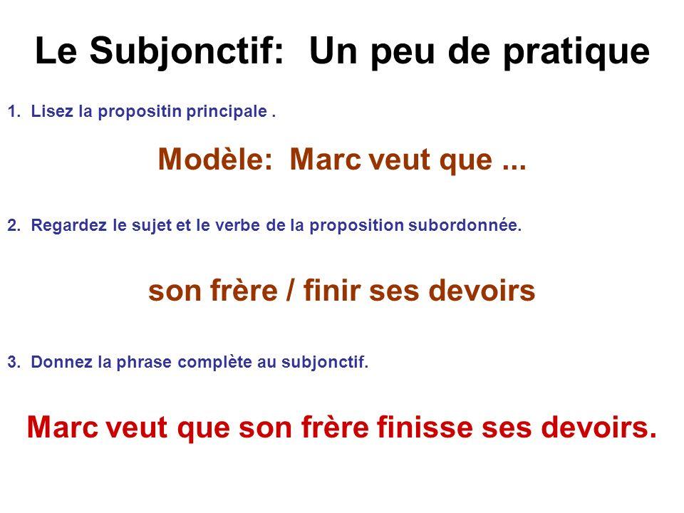 Le Subjonctif: Un peu de pratique 1. Lisez la propositin principale. Modèle: Marc veut que... 2. Regardez le sujet et le verbe de la proposition subor