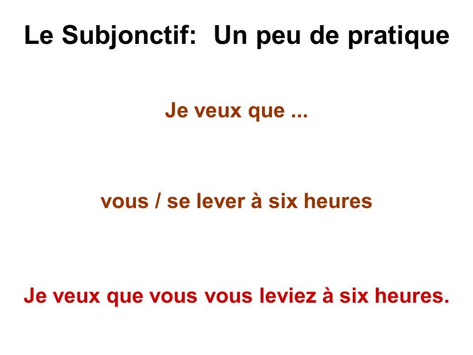 Le Subjonctif: Un peu de pratique Je veux que... vous / se lever à six heures Je veux que vous vous leviez à six heures.