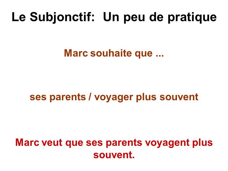 Le Subjonctif: Un peu de pratique Marc souhaite que... ses parents / voyager plus souvent Marc veut que ses parents voyagent plus souvent.