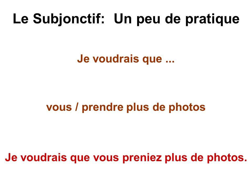 Le Subjonctif: Un peu de pratique Je voudrais que... vous / prendre plus de photos Je voudrais que vous preniez plus de photos.