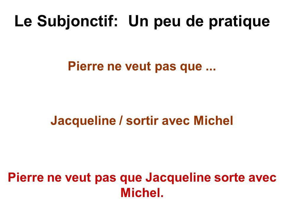 Le Subjonctif: Un peu de pratique Pierre ne veut pas que... Jacqueline / sortir avec Michel Pierre ne veut pas que Jacqueline sorte avec Michel.