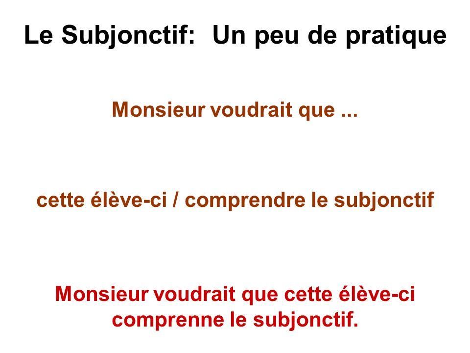Le Subjonctif: Un peu de pratique Monsieur voudrait que... cette élève-ci / comprendre le subjonctif Monsieur voudrait que cette élève-ci comprenne le