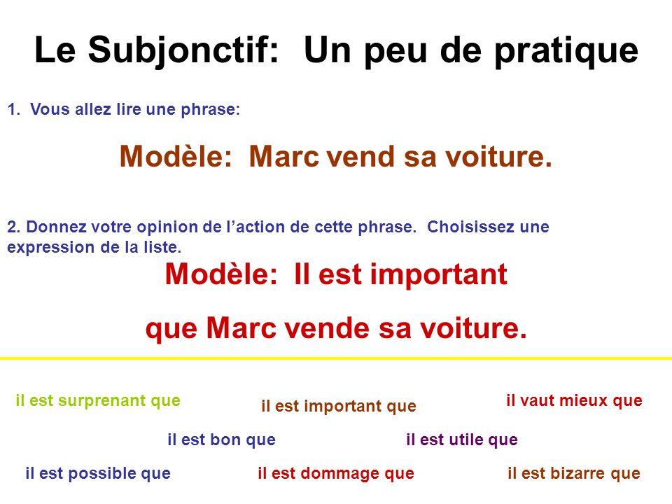 Le Subjonctif: Un peu de pratique Subjonctif après les expressions de volonté