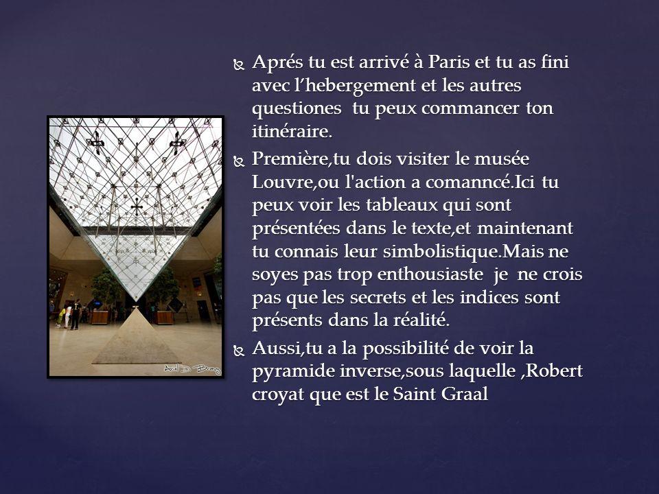Aprés tu est arrivé à Paris et tu as fini avec lhebergement et les autres questiones tu peux commancer ton itinéraire.