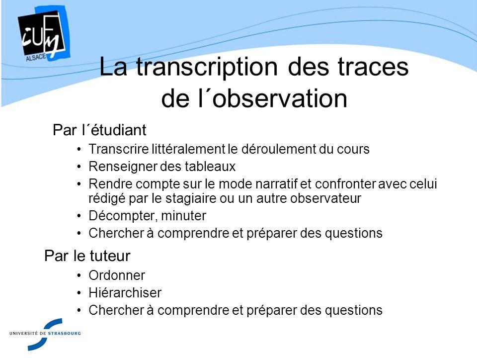 La transcription des traces de l´observation Par l´étudiant Transcrire littéralement le déroulement du cours Renseigner des tableaux Rendre compte sur
