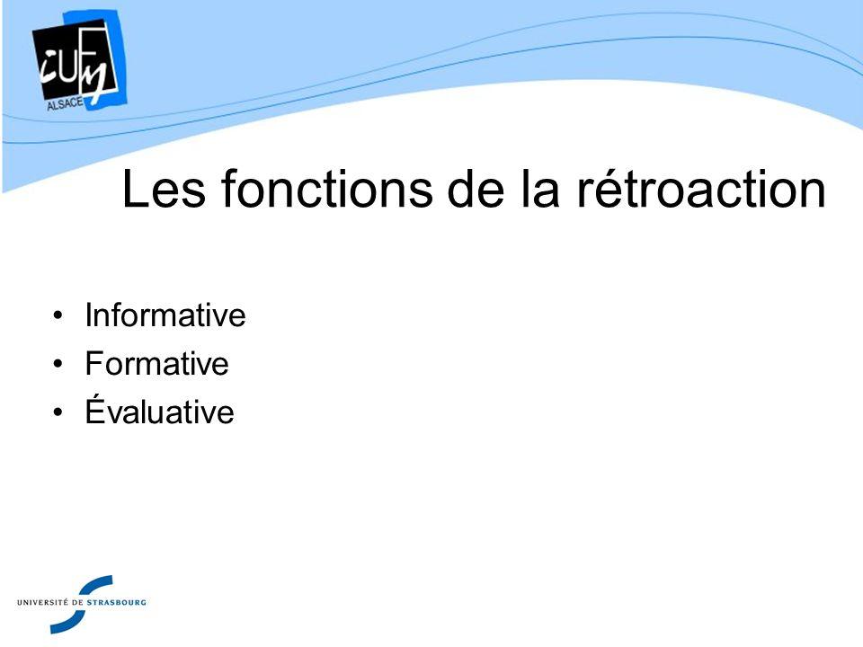 Les fonctions de la rétroaction Informative Formative Évaluative