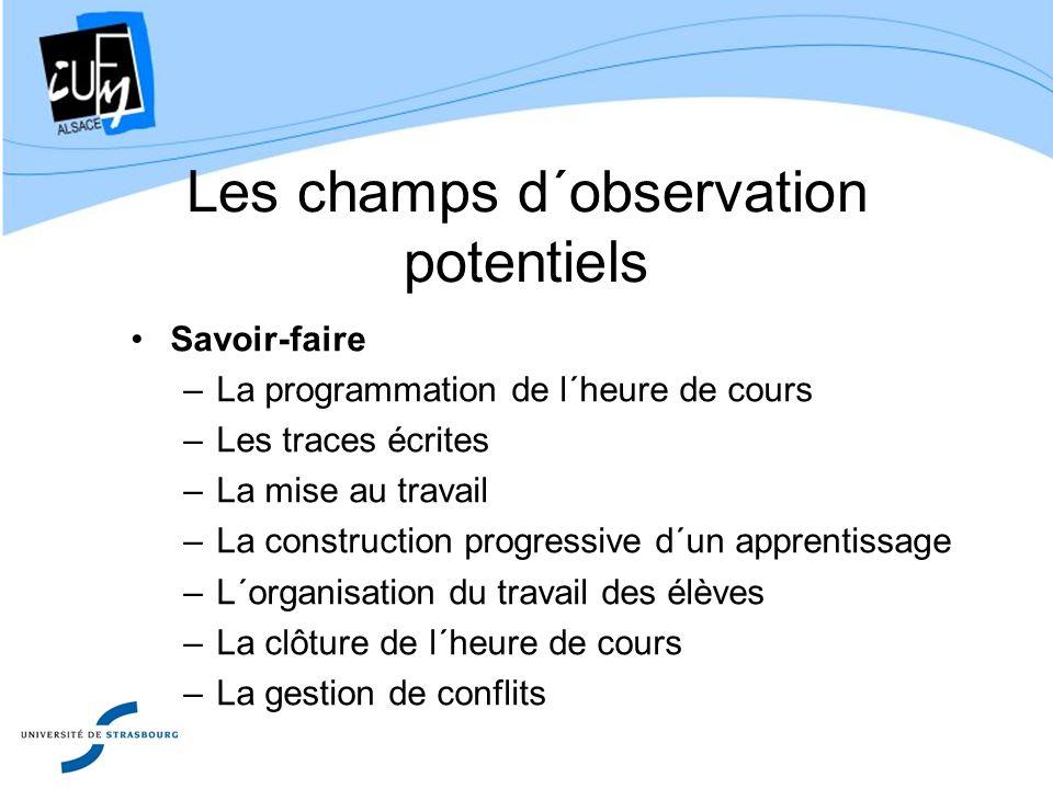Les champs d´observation potentiels Savoir-faire –La programmation de l´heure de cours –Les traces écrites –La mise au travail –La construction progre