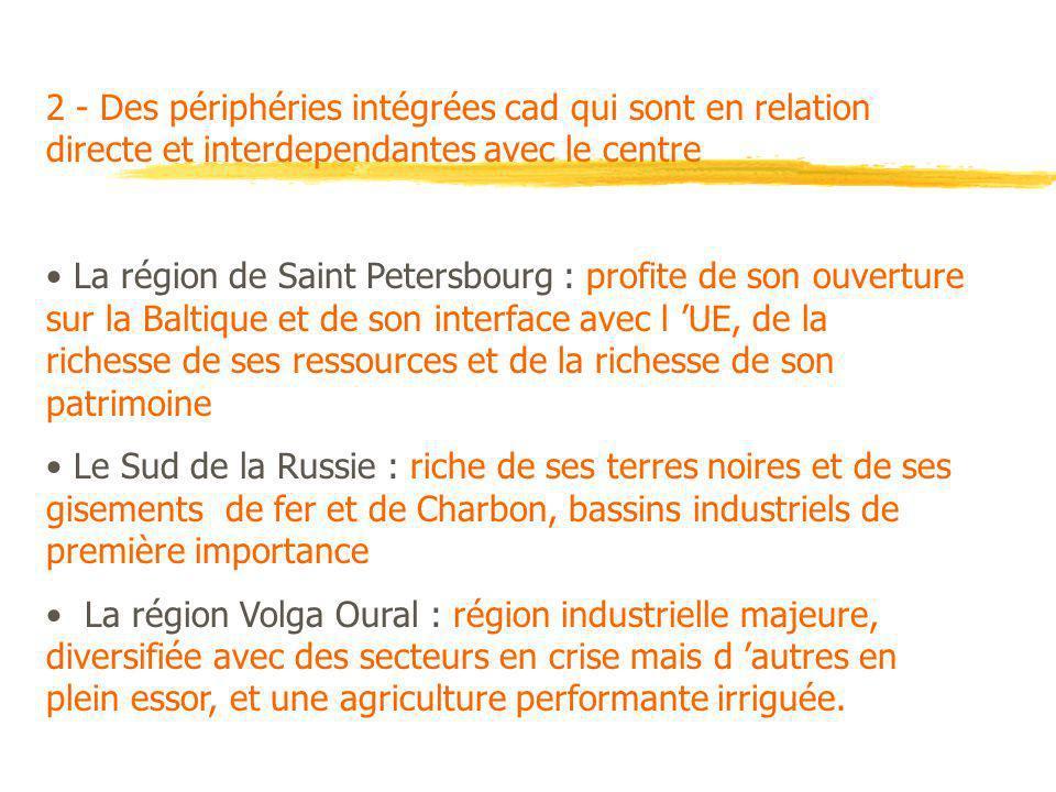2 - Des périphéries intégrées cad qui sont en relation directe et interdependantes avec le centre La région de Saint Petersbourg : profite de son ouve